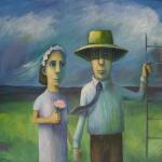 """THE FARMER TAKES A WIFE"" oil on canvas   2008 100cm x120cm sold"
